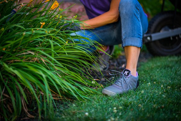 Kujo grey and purple shoes in lifestyle picture